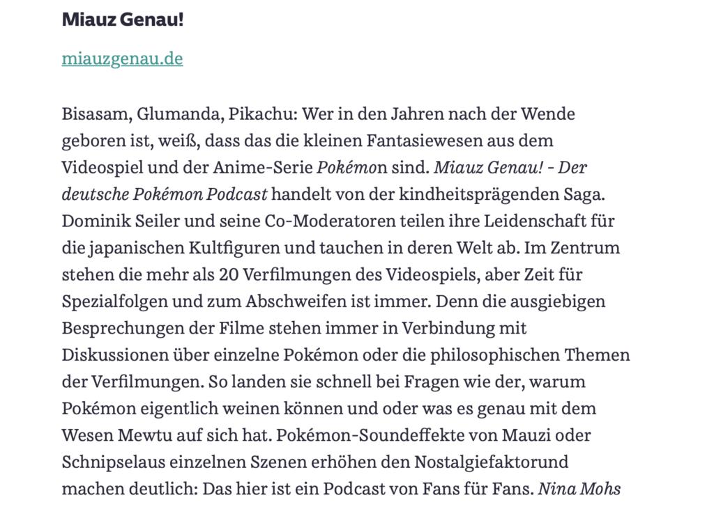 süddeutsche, Zeitung, pokemon, podcast, Empfehlung, deutsch, German, news, Bericht, miauz genau