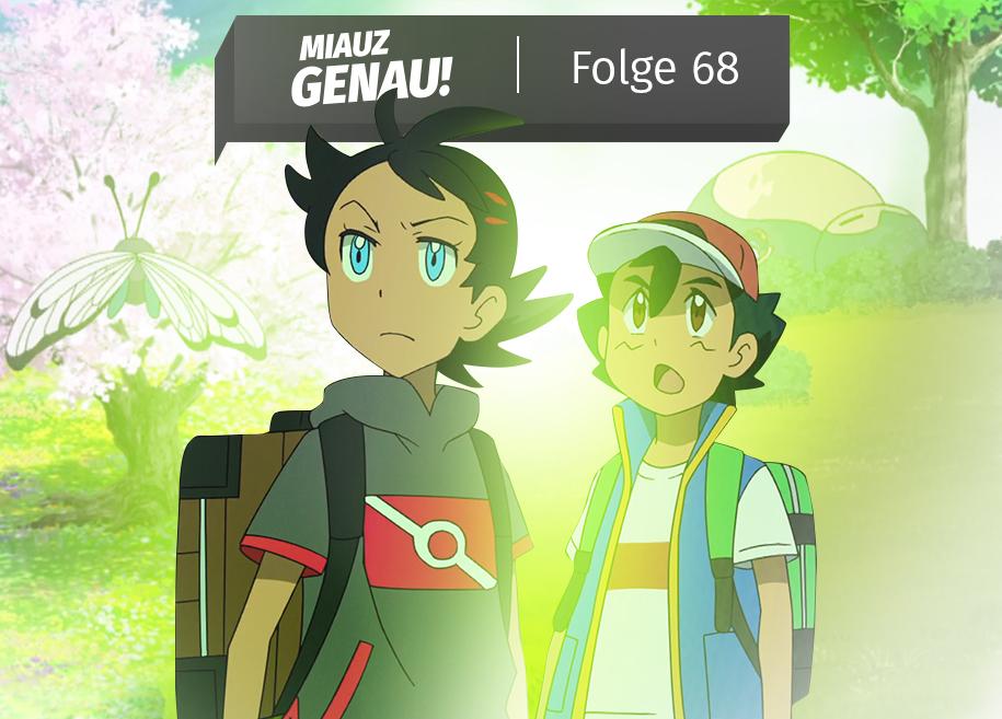 Pokémon Reisen, Episode 5 und 6. Ash und Goh stehen. Goh fängt viele Käferpokemon. In der Ferne ein Rekaxo unter einem Baum