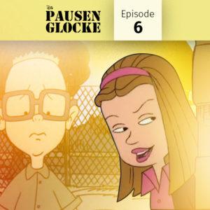 Disneys große Pause, Ashley guckt um die Ecke und Gus steht verlegen im Hintergrund. Wurde verhext und muss schweigen